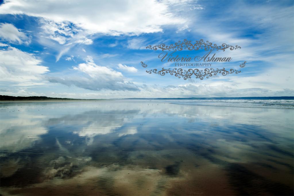 Saunton Sands, Devon. Reflections in the water.